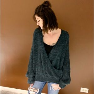 Free People Tops - Free People Long Sleeve Swoop Deep V Neck Sweater